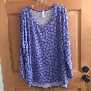 Lularoe long sleeve purple polka dot top